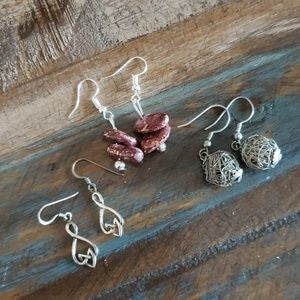 Jewelry - Earrings. Silver celtic, silver ball, silver stone